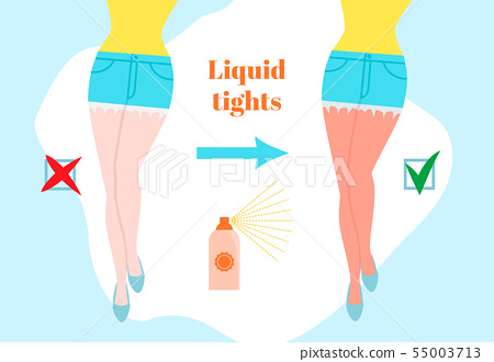 Liquid tights cartoon style concept. Before and after female legs with sun tanning. Sun burned skin 55003713