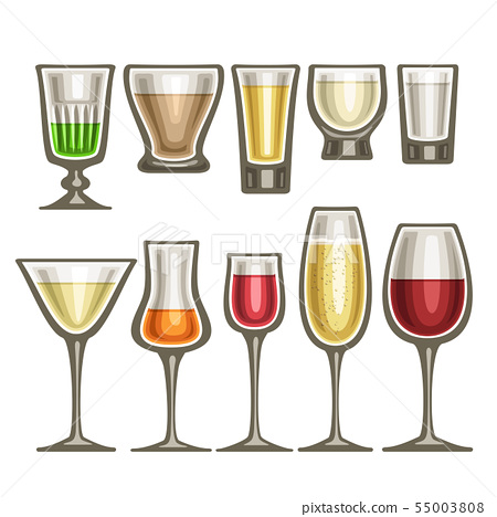 Vector set of different glassware 55003808