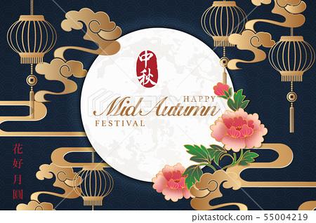 Retro style Chinese Mid Autumn festival background 55004219