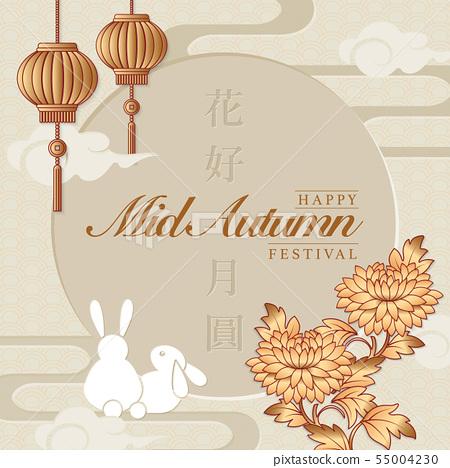 Retro style Chinese Mid Autumn festival background 55004230