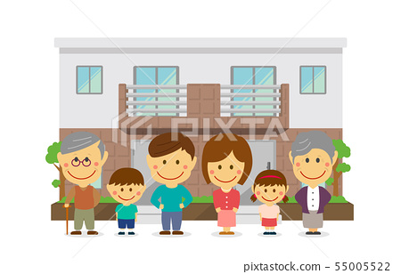 Two-family house and parent and child three generation family illustration (parents, parent and child, grandparents living together) / deformation, two heads 55005522