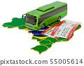 Bus travel in Brazil, concept. 3D rendering 55005614