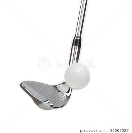 Chrome Golf Club Wedge Iron and Golf Ball Isolated 55007027
