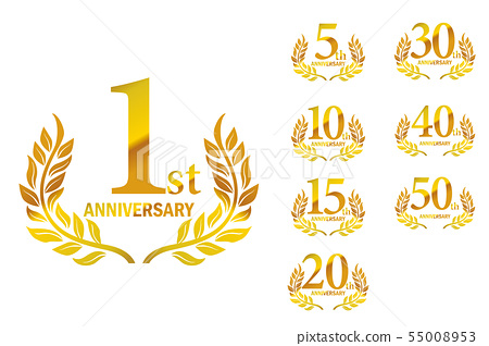 anniversary logo set with laurel motif 1st stock illustration 55008953 pixta anniversary logo set with laurel motif