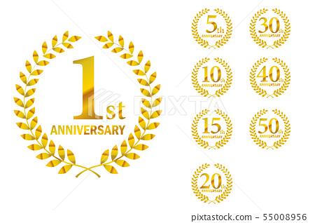 週年紀念標誌設置與月桂樹圖案1週年 -  50週年,月桂花環·月桂樹 55008956