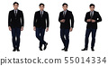 Business Man Stand in dark Black proper Suit 55014334