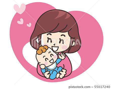 婴儿和母亲的图标 55017240