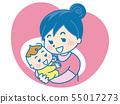 婴儿和母亲的图标 55017273