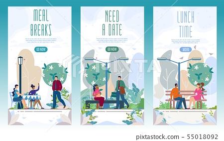 City Recreational Park Flat Vector Web Banners Set 55018092
