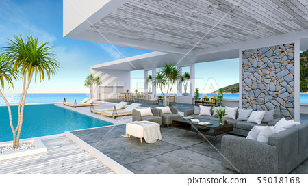 Beach lounge ,Sunbathing deck and private pool 55018168