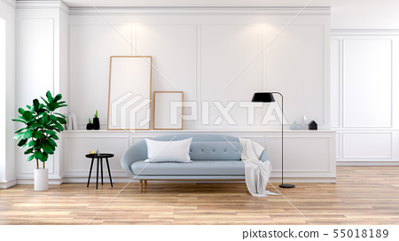 Light Blue Sofa On White Room Interior Living Room Stock Illustration 55018189 Pixta