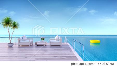 Vacation time , Wood sofa on Sunbathing deck 55018198