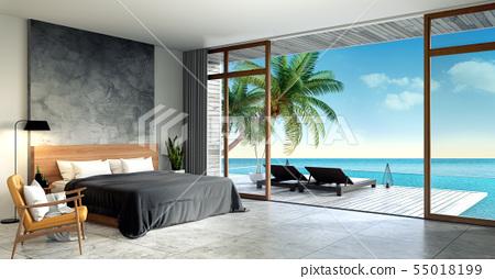 Modern Loft  interior of Bedroom ,Summer  55018199
