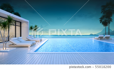 Luxury modern style at the exterior beach houses  55018200