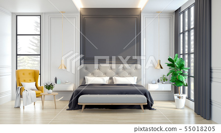 Interior Luxury and Cozy Bedroom with Modern Decor 55018205