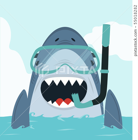 Shark swimming with diving equipment 55018282