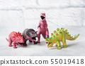 Dinosaur Plastic rubber toy. Selective focus. 55019418