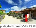 붉은 기와 류큐 가옥이 늘어선 풍경 오키나와 竹富 우체국 55021930