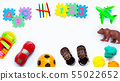 Colorful kids toys on white background. 55022652