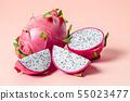Fresh dragon fruit on pink. 55023477