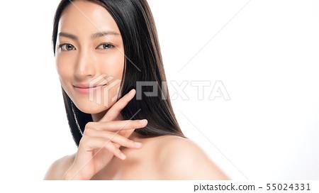 Beautiful Young Asian Woman with Clean Fresh Skin, 55024331