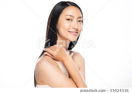 Beautiful Young Asian Woman with Clean Fresh Skin, 55024336