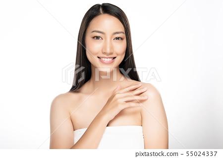 Beautiful Young Asian Woman with Clean Fresh Skin, 55024337