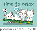 Kawaii cats with a flute 55025101