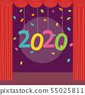 舞台和紅色窗簾2020新的一年 55025811