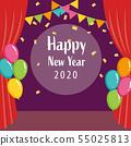 舞台和紅色窗簾2020新的一年 55025813