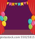 舞台和紅色窗簾和氣球 55025815