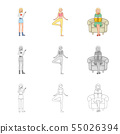 Isolated object of posture and mood symbol. Collection of posture and female vector icon for stock. 55026394