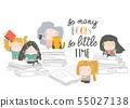 Group of cartoon children reading books. My first book 55027138