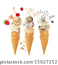 Variety of ice cream scoops in cones with 55027252
