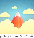 붉은 후지산 구름 55028644