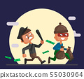 Vector cartoon illustration of a police officer and thief 55030964