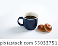 Coffee and Anpan bread on a white background. 55033751