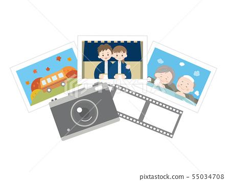 온천 여행 카메라와 사진의 일러스트 55034708