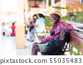 African man traveler standing waiting for the 55035483