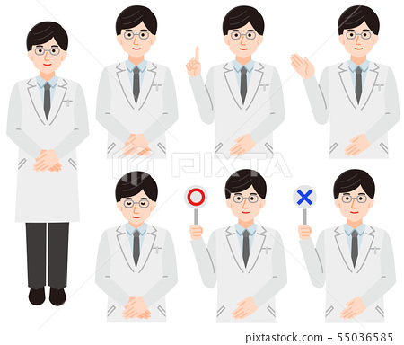Male Doctor White Coat Simple No Line Illustration 55036585