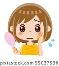 눈의 충혈 여성 55037936