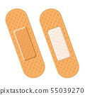 Medical plaster on two sides on a white. Bandage 55039270