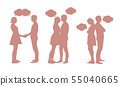 Set of silhouettes of young couple - men and women 55040665