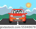 Vector illustration of a red car with a family on 55040678