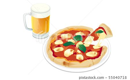 比薩餅和啤酒 55040718