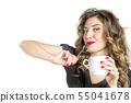 Young woman enjoying drink Funny girl white 55041678