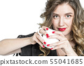 Girl with cup coffee tea Portrait pretty young 55041685