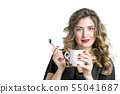 Attractive girl with cup coffee Young woman 55041687