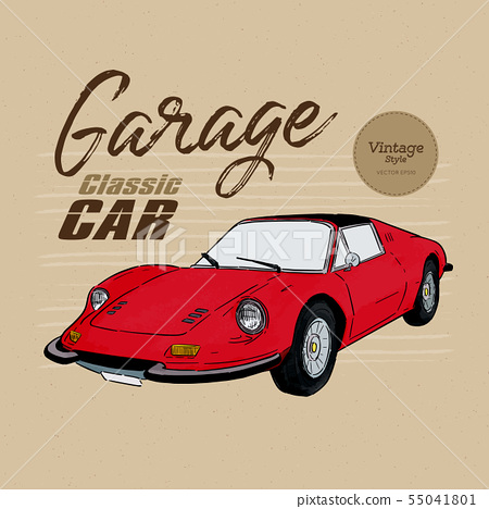 Classic car, vintage style. hand draw sketch 55041801