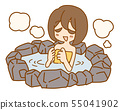Chilly girl in a hot spring 55041902